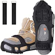 24 Teeth Walk Traction Ice Cleats Treads w/2 Straps Safety Anti-Slip Snow Grips Gripper All-Surface Footwear Crampons Stainless Steel Spikes for Walking Jogging Hiking Climbing on Snow and Ice