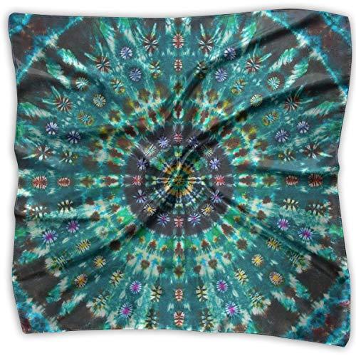 Large Womens Fashion Silk Neck Shawl Square Satin Scarf, Spiral Tie Dye Mandala Green Pattern Printed Silky Bandana Head Scarf Sleeping