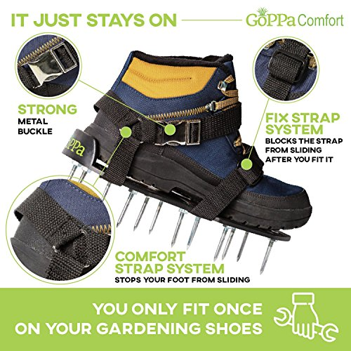 GoPPa Lawn Aerator Shoes - Comfort - Easiest to FIT & Fully Assembled Aerator Sandal, You only FIT Once on Your Gardening Shoes. Ready for aerating Your Yard, Lawn & Grass