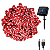 woohaha Solar Christmas Fairy String Lights Outdoor Waterproof, 72ft 200LED Updated Version 6hrs Timer Function with USB Cable Solar Powered LED String Lights for Patio Garden Party(Red)