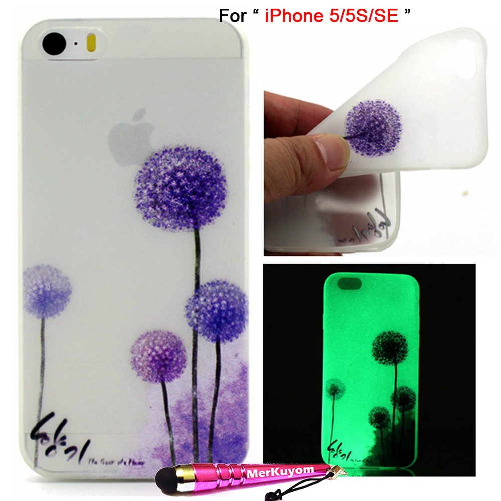 iPhone SE Case / iPhone 5 5S Case, 5/5S/SE Cover, MerKuyom [Night Luminous] Thin Flexible Gel Soft TPU Cover Silicone Skin Case + Film & Stylus For Apple iPhone 5 5S, iPhone SE (Purple Dandelion)