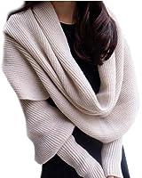 Y-BOA - Echarpe Châle Pashmina Pull à Manches Longues - Beige- Femme/Homme - Crochet Coton-265*43CM- Automne/Hiver