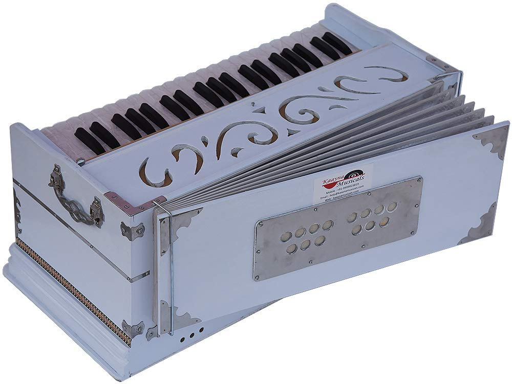 Harmonium White Pro Grade By Kaayna Musicals, 11 Stop- 6 Main & 5 Drone, 3½ Octaves, Coupler, Gig Bag, Bass/Male Reed Tuned- 440 Hz, Suitable for Peace, Yoga, Bhajan, Kirtan, Shruti, Mantra, etc by Kaayna Musicals (Image #7)