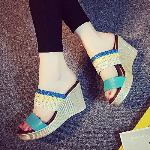 mare scarpe con YMFIE 39 moda zeppa al EU antiscivolo Estate e casual B spiaggia da pantofole spiaggia da sandali aqIwOrqxP