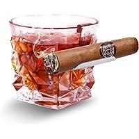 BORAVIS Whisky Cigar Glass Holder, Silver