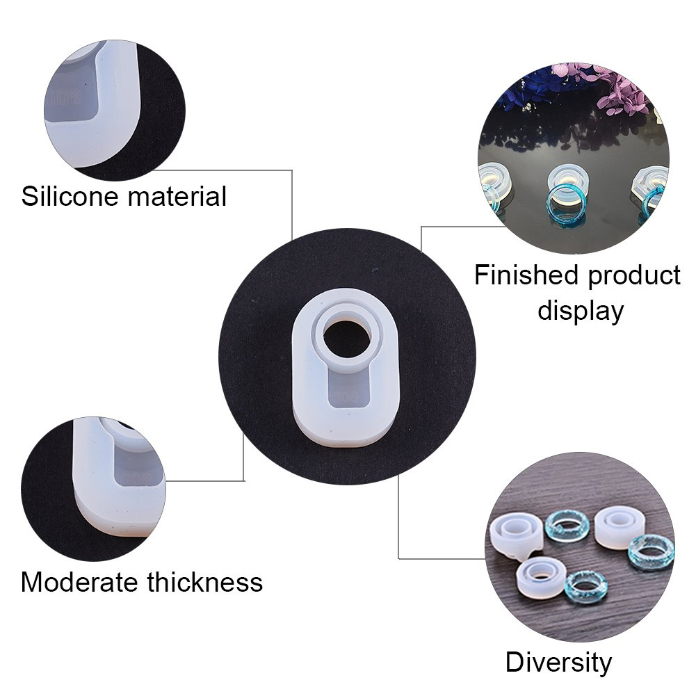 72~85.5x11~19.5 mm; Producto Terminado: 56~62 mm para Hacer Pulsera PandaHall Elite 6 Pcs Anillo DIY Modelos de Silicona Blanco