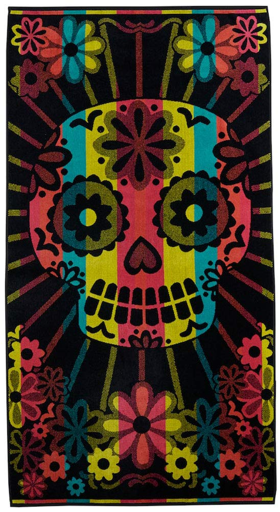 Day of Dead バスタオル トルコ ビーチタオル シュガースカル オーバーサイズ プールタオル 64x34 B07Q8G29C3