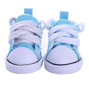 Leoie5CM Fashion Denim Canvas Mini Toy Shoes 1/6 Shoes for 18 Inch Doll Accessories