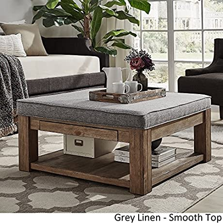 INSPIRE Q Lennon Pine Square Storage Ottoman Coffee Table By Artisan Grey