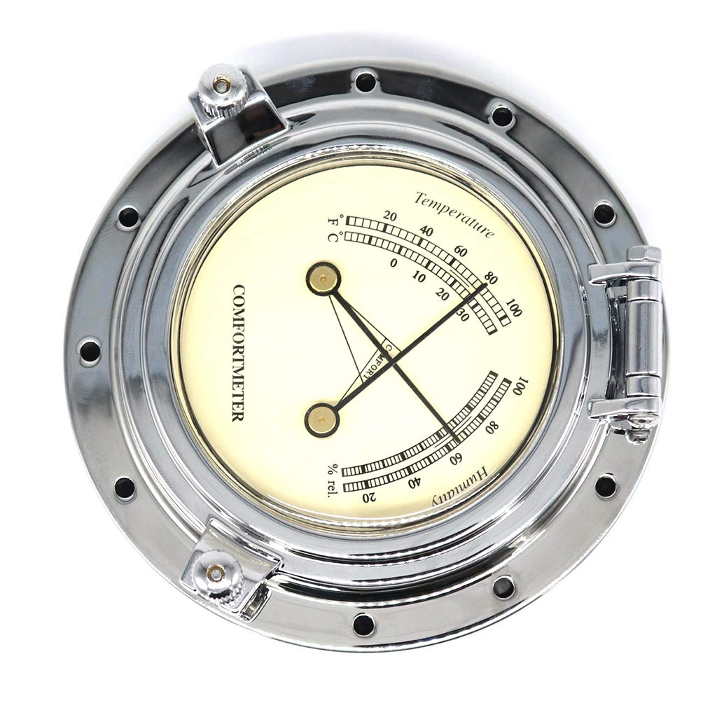 Homyl Round Temperature Humidity Meter for Navigation Marine Yacht Boat SUV Silver