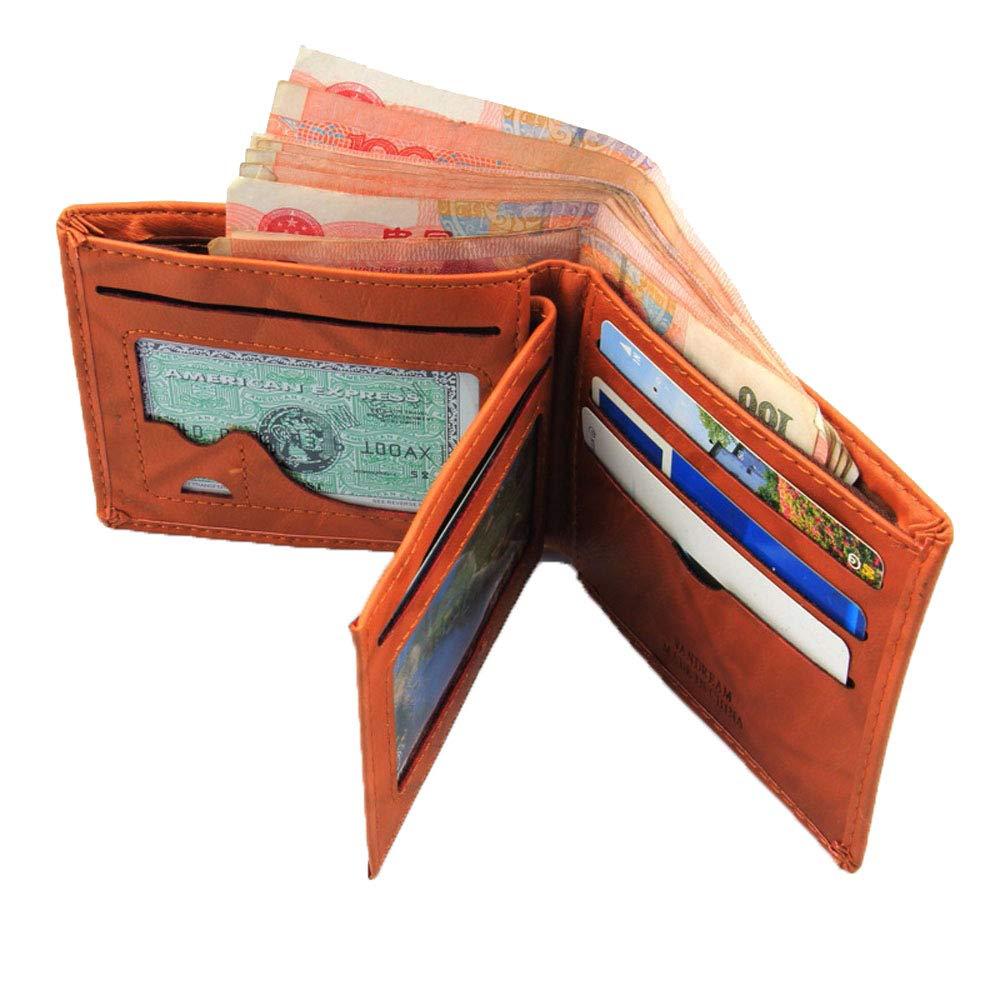 Sanyaleishen Men Leather Card Cash Receipt Holder Organizer Bifold Wallet Purse Coffee
