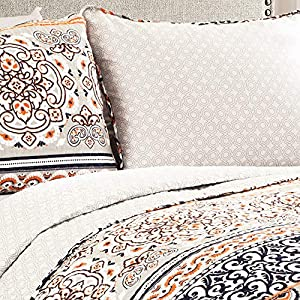 Lush Décor Nesco Quilt Set Striped Pattern Reversible 3 Piece Bedding Set – Navy/Coral – Full/Queen Quilt Set