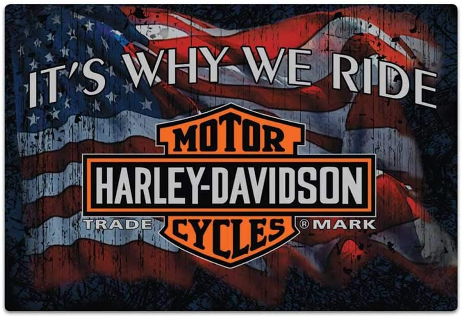Harley-Davidson Why We Ride Embossed Flag Tin Sign, 17 x 12.5 inches 2012071