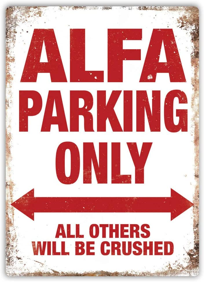 PotteLove Alfa Parking Only Metal Wall Sign Plaque Art Romeo 147 Tspark Spider