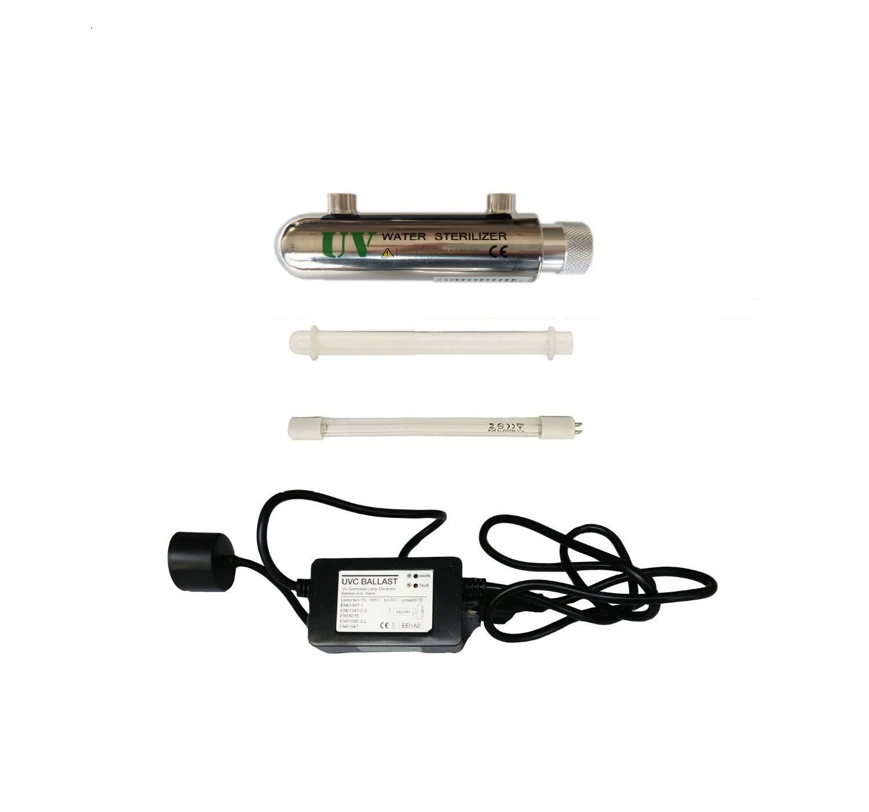 0,25 GPM ultra violet filtre a eau legere 200-240V Realgoal 4W UV systeme de desinfection de leau en acier inoxydable 304 sterilisateur UV entree//sortie femelle 1//4 LED /& Sound ballast alarmant