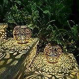 2 Pack Outdoor Solar Hanging Lantern Lights Metal