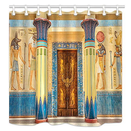 KOTOM Egyptian Shower Curtains, Mysterious Ancient Egyptian on Egypt Temple Wall, Mildew Resistant Fabric Waterproof Shower Curtain, Bathroom Accessory Sets, Hooks Included, 70X70in (Egyptian)