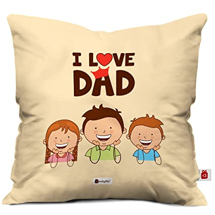 Indigifts Fathers Day Gifts From Daughter I Love Dad Quote Brown Cushion Cover 12x12 Inches With