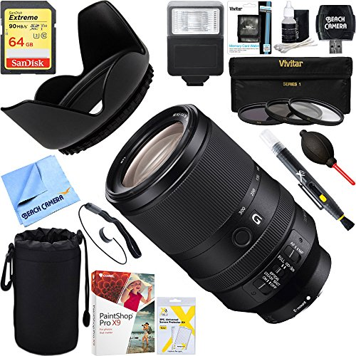 3' Dust Hood - Sony FE 70-300mm F4.5-5.6 G OSS Full-frame E-Mount Lens (SEL70300G) + 64GB Ultimate Filter & Flash Photography Bundle