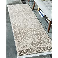Unique Loom Arcadia Collection Gray 3 x 10 Runner Area Rug (2 7 x 10)