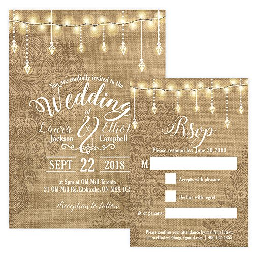 Amazon.com: Custom - Rustic Wedding Invitation Set - Set of 25, Personalized Wedding Invitation, Rustic Wedding (Invitation + RSVP + ENVELOPES): Health ...