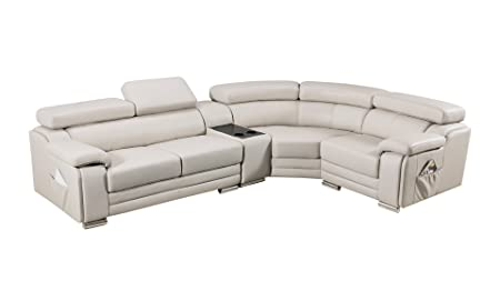 American Eagle Furniture Daphne Collection Modern Top Grain Leather Sectional Sofa With Chaise on Right, Adjustable Headrests, Light Gray