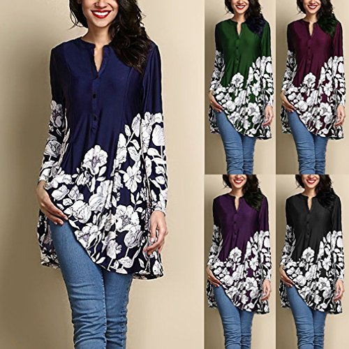 Femmes Chemise Rond Pattern Couleurs Casual 5 Chemise Floral Rouge Lache Vin Blouse Dress D't S des 5Xl Mid Manches Longues Long Col Impression wwvqCrEp