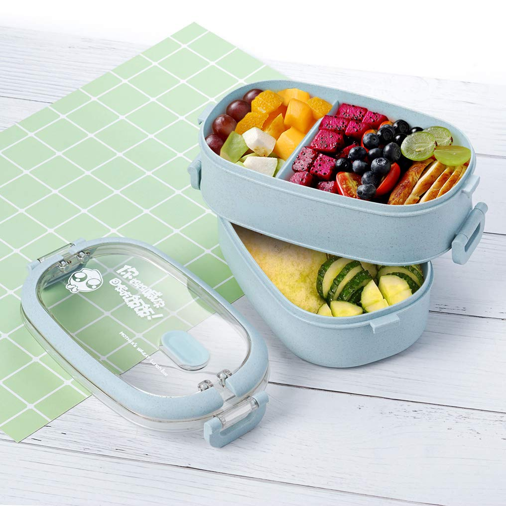 Lunch Box, 2-Layer Bento Box and Cutlery Set Lunch Boxes for Kid Adult Work School, Suitable for Microwave and Dishwasher