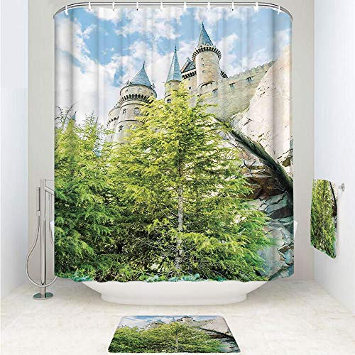 iPrint Polyester Fabric Bathroom Shower Curtain Set with Hooks,Wizard Castle in Woods Replica in Japan Picture,3pcs Set with Shower Curtain Bath Towel Non-Slip mat for Home Decor Bathroom