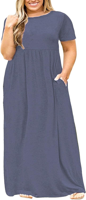 POSESHE Damen Plus Size Tunika Swing T-Shirt Kleid Langarm Maxikleid mit Taschen: Amazon.de: Bekleidung - Tunika Kleid