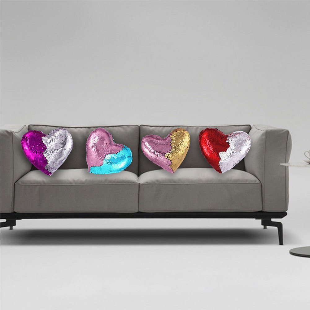 Heart Shape Sequin Pillow with Insert Mermaid Reversible Color Change Throw Shiny Two Color Flip Cushion Magic Write On Girls Gift Bolster for Sofa Couch Bedroom Car 14'' x 15.5'',Blue and Pink by URSKYTOUS (Image #4)