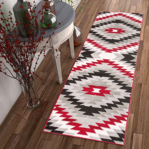 dusky-mesa-grey-red-southwestern-modern-tribal-medallion-2-x-7-23-x-73-runner-area-rug-easy-clean-st