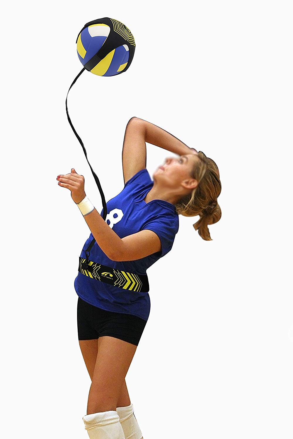 KEAIOU Volleyball Football Training Equipment Aid,Swing Spike Ball Tether Waist Trainer Adjustable Waist Belt Cord Length Solo Practice of Serving Tosses Arm Swings