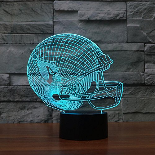 Night Lights for Children,Rugby Cap Arizona Cardinals 3D Lights Colorful Touch LED Lights ()