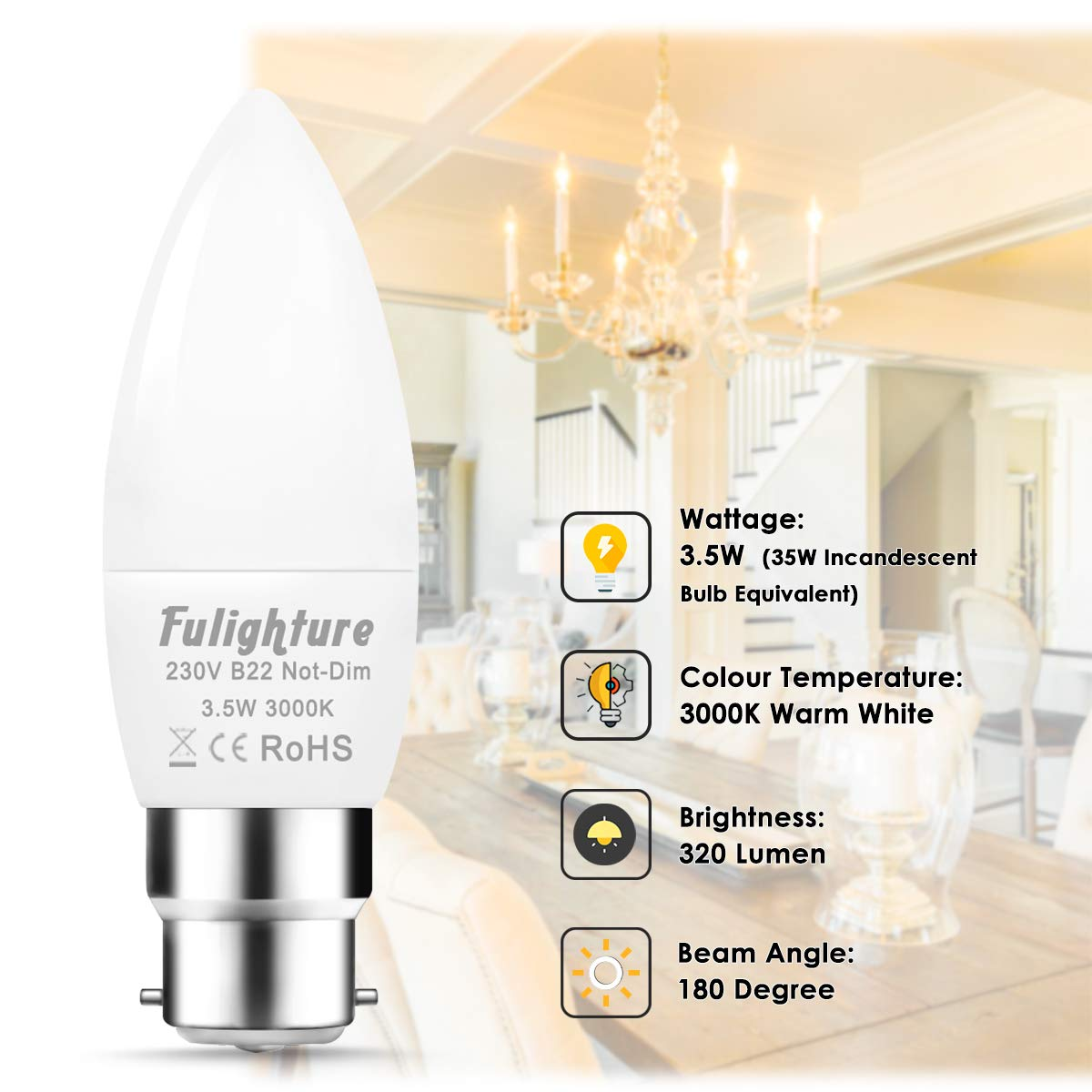 for Bedroom 35W Incandescent Bulb Equivalent 3000K Warm White B22 Bayonet Cap Candle Bulbs Fulighture 3.5W Frosted Small LED Light Bulbs Bathroom Kitchen Non-Dimmable Pack of 6 Living Room