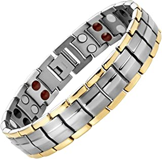 Willis Judd Mens Four Element Magnetic Two Tone Titanium Bracelet In Gift Box + Free Link Removal Tool