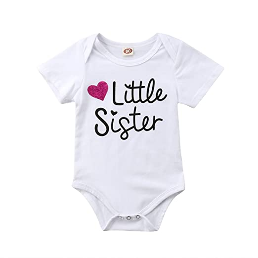 f4ef2acf1e14 Amazon.com  Emmababy Little Sister Romper Top Baby Girls Short ...