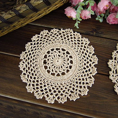 "TideTex Vintage Rural Style Handmade Crochet Cotton Lace Crochet Table Placemats Coasters Doilies Hollow Out Cup Pads Vase Pads Value Pack/8pcs (7""x7"", B)"