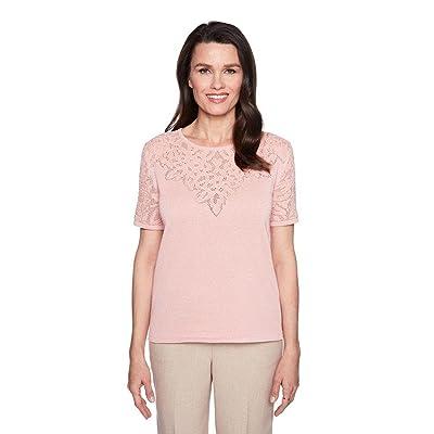 27a76cedfc Alfred Dunner Women s Pointelle Yoke Sweater