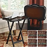 SNACK TABLE SET and Coffee Cocoa Beverage Coaster Set Bonus, Portable TV Trays With Stand and Handle (Coffee Brown)