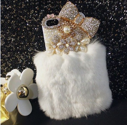 Aikeduo for iPhone 6Plus 6s+ Plus 5.5 Inch Case Bling Crystal Fluffy Cover [Genuine Rex Rabbit Fur Case] Winter Wammer Handmade Soft Crystal Caselo Bling Crystal Fur Shell Display (White)