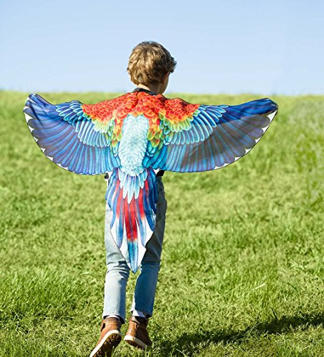 Brainy Bird Wings, Dress Up and Pretend Play Costume for Kids - 52'' Wingspan - Scarlet Macaw by HearthSong (Image #1)