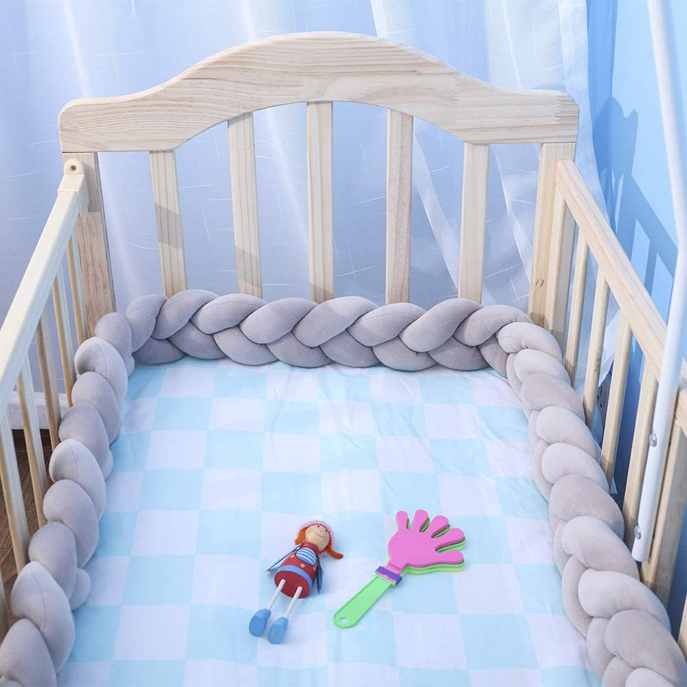 Decdeal Baby Crib Bumper Cot Bumper Knotted Braided Pillow Nursery Cradle Decoration 1 Meter