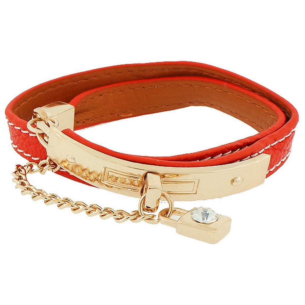 My Daily Styles Fashion Alloy Red Faux PU Leather Rose Gold-Tone Padlock CZ Double Row Wristband Bracelet