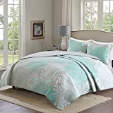 quilt for queen bed - Comfort Spaces – Enya Quilt Mini Set - 3 Piece – Aqua and Grey – Floral Printed Pattern – Full / Queen size, includes 1 Quilt, 2 Shams