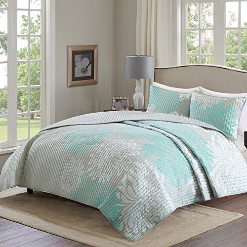 Comfort Spaces – Enya Quilt Mini Set - 3 Piece – Aqua and Grey – Floral Printed Pattern – King size, includes 1 Quilt, 2 (2 Free Shams King Quilts)