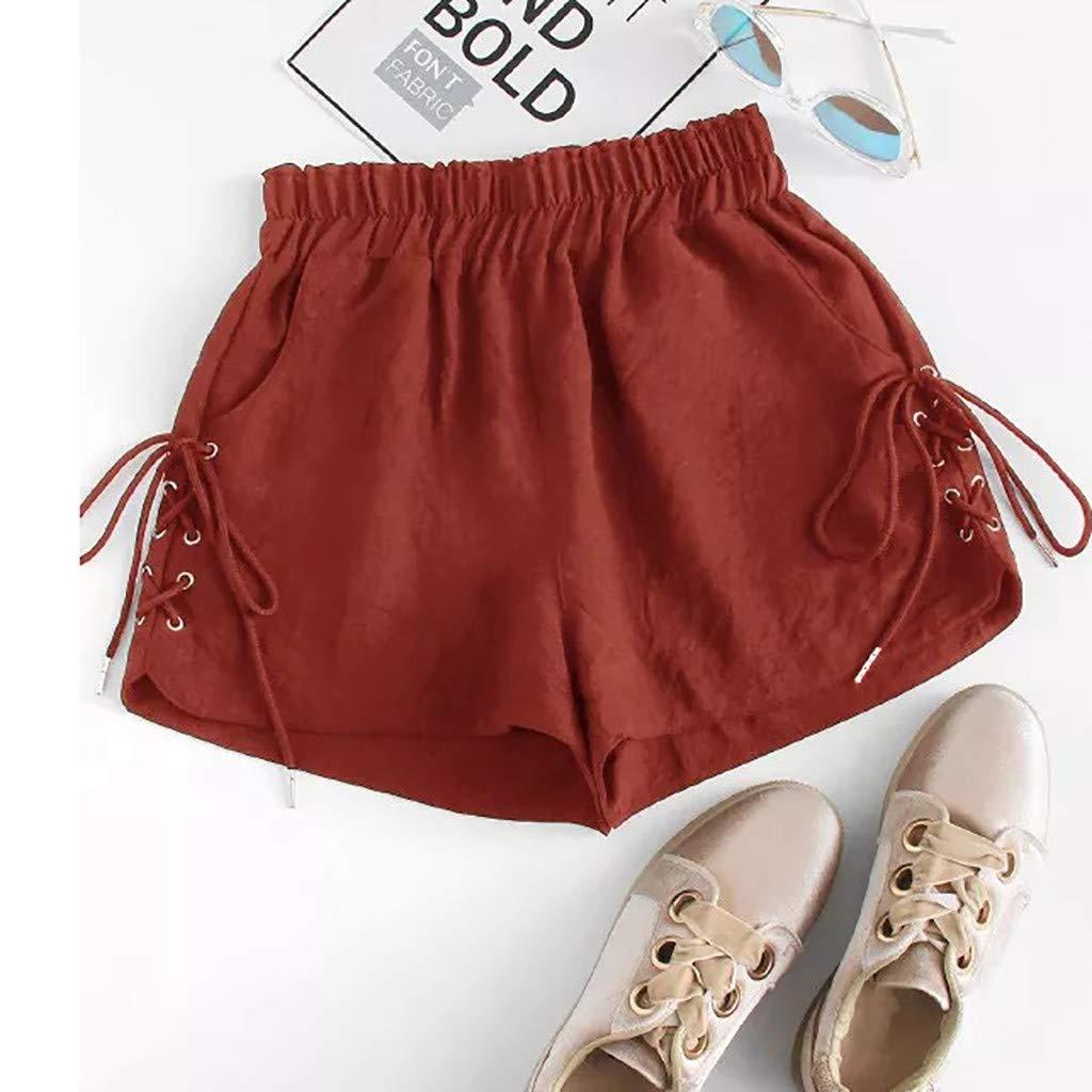 beautyjourney Shorts de Encaje para Mujer Pantalones Cortos de Cintura el/ástica de Verano Pantalones Cortos de Tela Suelta de Color s/ólido Pantalones de Correr de Yoga