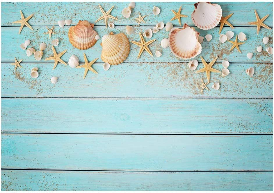 Funnytree 7x5ft Blue Wooden Board Wall Backdrop Vintage Retro Wood Floor Photography Background Summer Seashell Starfish Newborn Baby Adult Portrait Photo Studio Props Decorations Banner
