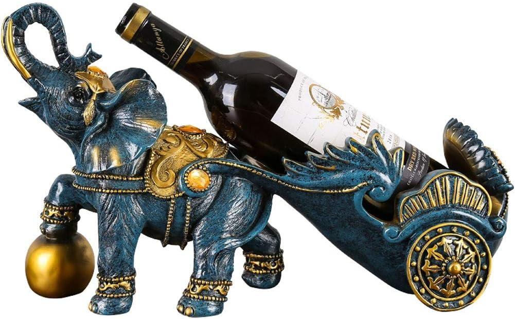 ワインラック ワイン棚 象の形 ワインボトルホルダーヨーロピアンスタイル 自立 ワイン陳列台 卓上樹脂工芸の装飾 ワインフレーム 家庭用 ワイン棚 ワインスタンド シャンボ14011 (Color : Blue)