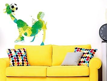 I Love Wandtattoo WAS 10854 Kinderzimmer Wandsticker U0026quot;Aquarell  Fußballer In Gelb